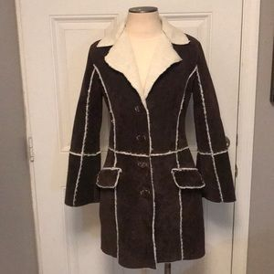 Wilsons Vintage Shearling Leather Coat Size S